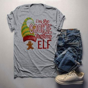 Men's Funny Elf T Shirt Cookie Tasting Matching Christmas Shirts Graphic Tee Watercolor