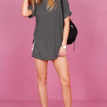 Striped Worn Out Tunic Tee - Black