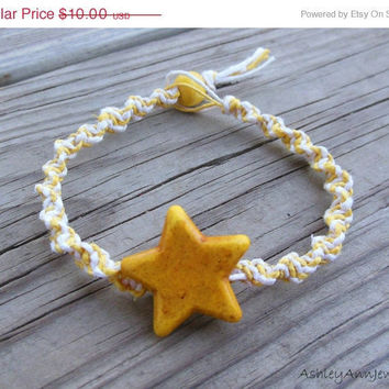 15% off CIJ SALE Yellow Star Hemp Bracelet Macrame Spiral Knot