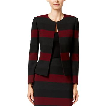 Tahari ASL Womens Petites Striped Long Sleeves Jacket