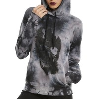 Skate Women's Gothic Halloween Skull Print Tie Dye Pullover Hoodie USA Size XS-L (Not Thick)