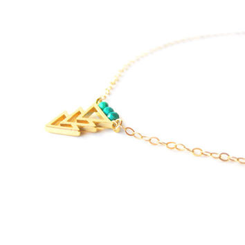 Gold Chevron Necklace - Aztec Necklace - Gold Charm Necklace - Triangle Necklace – 14k Gold Filled Necklace – Layered Necklace