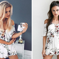 2017 Summer Floral Printed Off The Shoulder Romper Jumpsuit [9169910029]