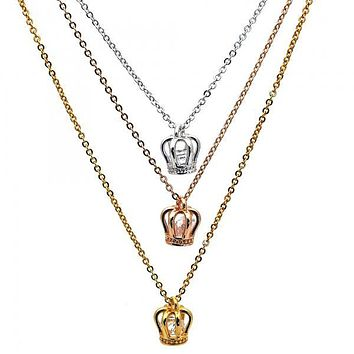 Gold Layered 04.60.0010.18 Fancy Necklace, Crown Design, with White Cubic Zirconia, Polished Finish, Tri Tone