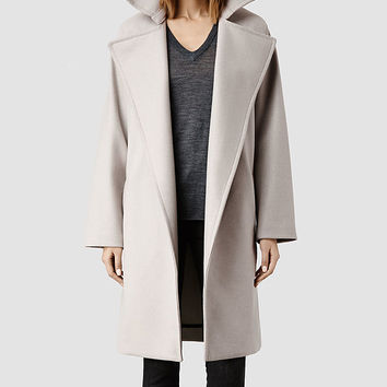 Womens Miya Coat (Pebble) | ALLSAINTS.com