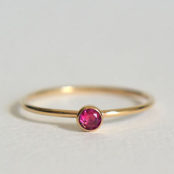 One Gold Filled Ruby Ring, Stacking Ring, 14k Gold Ring, Dainty Ring, Stackable Ring, Gold Ruby Stacking Ring