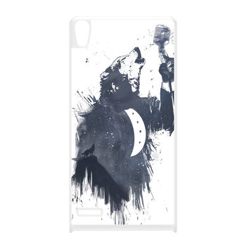 Wolf Song 3 White Hard Plastic Case for Huawei P6 by Balazs Solti