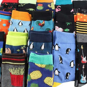 [WPLOIKJD]Hip Hop Flamingos Cactus Compression Crew Socks Men Casual Food Animals Antiskid Happy Funny Socks Homme Divertidos