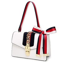 Gucci Fashion Women Leather Stripe Bowknot Metal Buckle Satchel Handbag Shoulder Bag White I12127-5