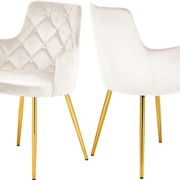 Salvatore Cream Velvet Dining Chair (set of 2)