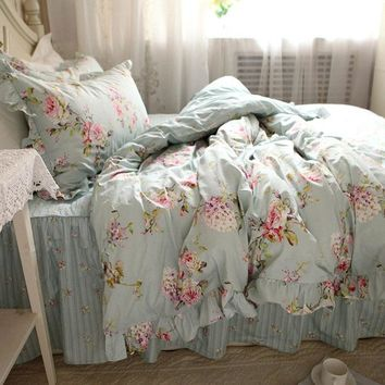 New European flower print bedding set rustic duvet cover bedding wrinkle bedspread bed sheet for wedding pillowcase bed clothes