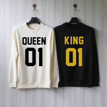 King and Queen Sweatshirt Couples Shirts Sweater Shirt – Size XS S M L XL