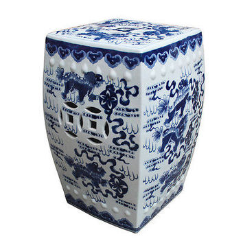Vintage Style Blue and White Square Porcelain Garden Stool Foo Dog Motif 17""