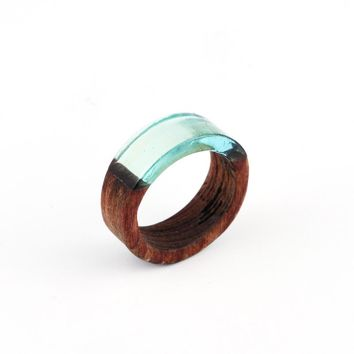 1pc Retro Punk Clear Resin Wood Rings For Women Men Jewelry Resin Round Circle Ring Carving Joint Simple Finger Ring Anel