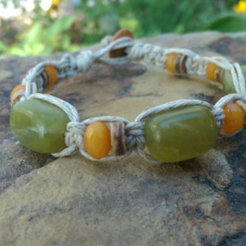 Lovely Handmade Bracelet, Hemp Bracelet, Jade Rectangles, Citrine, Gift for Her, Fall Accessory, Beautiful Colors, Hemp Jewelry