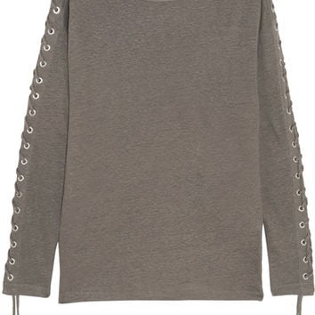 IRO - Salim lace-up linen-jersey top