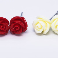 Fashion rose flower shell flower 925 sterling silver earrings,a perfect gift