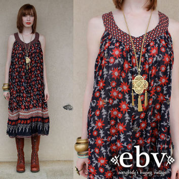 Vintage 70s India Cotton Hippie Boho Festival Tent Dress S M L