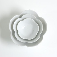 Vintage Set of Nesting White Lotus Bowls