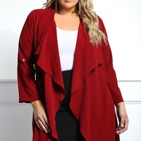 Made You Look Plus Size Waterfall Cardigan Tops+ GS-LOVE