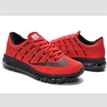 """NIKE"" Trending Fashion Casual Sports Shoes AirMax Toe Cap hook section knited Red bla"