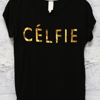 Celfie Black and Gold Short Sleeve Graphic Tee