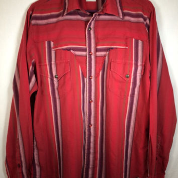 CINCH Long Sleeve Pearl Snap Western Shirt Rust Red Striped - MEDIUM