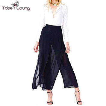 Women's Vintage Fashion High Waist Double Layers Chiffon Wide Leg Ankle Length Summer Palazzo Pants