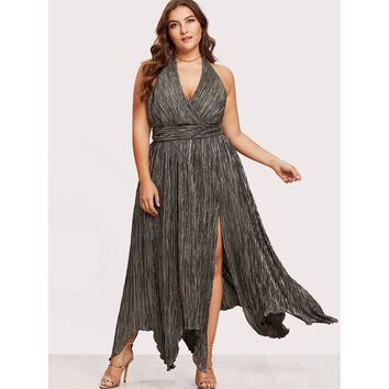 High Slit Hanky Hem Metallic Halter Dress