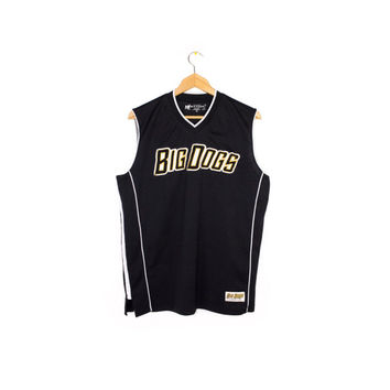 90s BIG DOGS JERSEY - vintage 1990s - black and white mesh - sportswear brand - tank top - health goth - shirt - small
