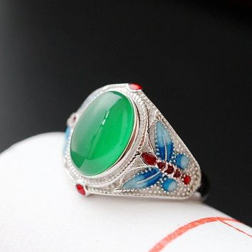 925 Sterling Silver with Natural Chalcedony Ring Cloisonne Butterfly