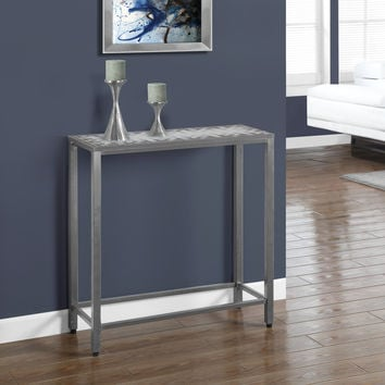 Console Table - Grey - Blue Tile Top - Hammered Silver