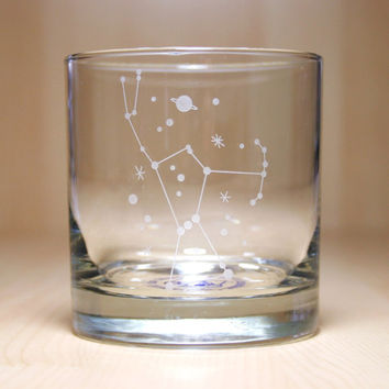 Orion Constellation - etched lowball glass