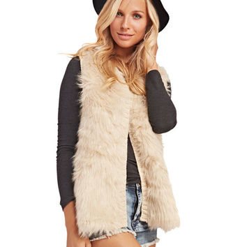 Chic Faux Fur Sweater Knit Vest | Wet Seal
