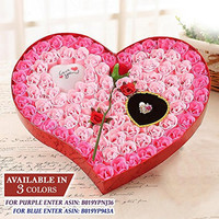 Ginzick® 92 Pcs Romantic Heart Flower Soap Roses with Led Love Heart Great For Mothers Day Fathers Day Valentines Day And And All Year Round I Love You Gift Box - Color Pink