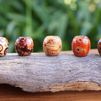 10 Wooden DREADLOCK Beads Hair Beads 15mm (8mm hole) & FREE Tibetan Silver Bead (7mm)