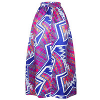 African Print Ankara Dashiki Bohemian High Waist Pleated A-Line Maxi Flare Skirt in Purple