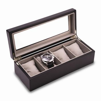 Matte Black Wood 4 Watch Box W/ Glass Top And Velour Lining & Pillows