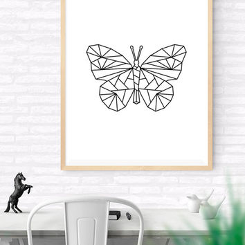 Geometric Butterfly, Origami Art, Printable wall art, Butterfly Art Print, Modern Butterfly Art, Nursery Art, kids Room Art, Woodlands Art