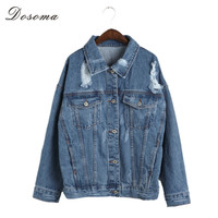 2016 Autumn Denim Jacket Women Basic Coats With Hole Long Sleeves Vintage Harajuku Oversize Loose Female Cardigan Mujer Chaqueta