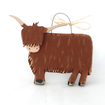 Highland Cow Rustic Decor - Primitive Country Style Wooden Brown Farm Cattle Nursery Wall Art