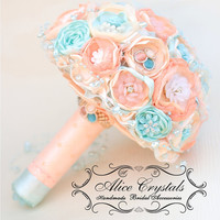 Brooch bouquet. Peach and Champagne, tifany,light  blue wedding brooch bouquet. Shabby chic fabric flowers.
