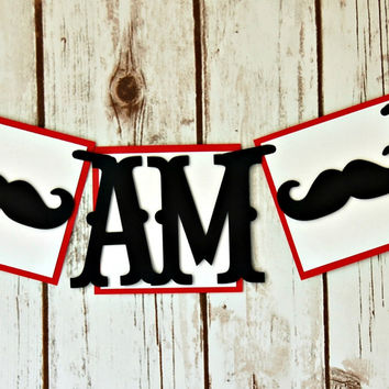 Mustache Themed Party High Chair Banner