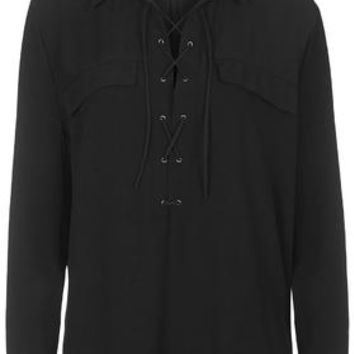 Tie-Up Pocket Shirt - Black