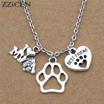 New I Love My Dog Lover Gifts Cute Antique Silver Best Friend Heart Dog's Paw Pendants Chain Necklace Personality Lucky Jewelry