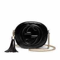 Gucci Soho Leather Mini Chain Bag, Patent Black