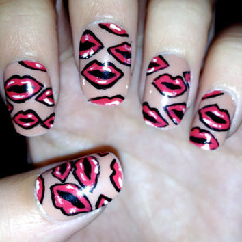 Kissing Red Lips Fake Nails by CompulsiveNails on Etsy
