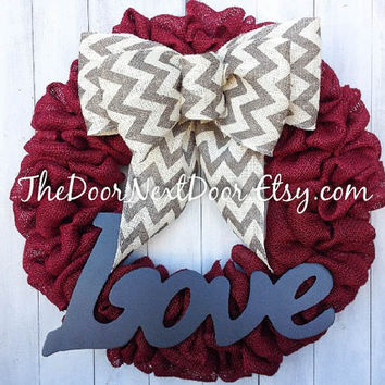 Valentines Wreath - Red Burlap Wreath - Love Sign Wreath - Valentines Day Decor