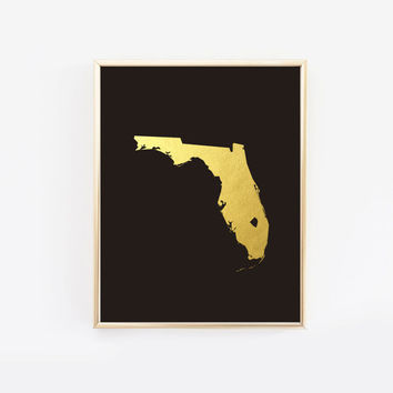 Florida state art gold foil print, Florida state silhouette using real gold foil on black paper