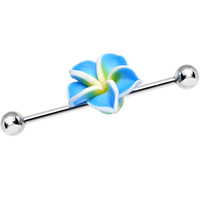Handcrafted Blue Hibiscus Flower Industrial Barbell